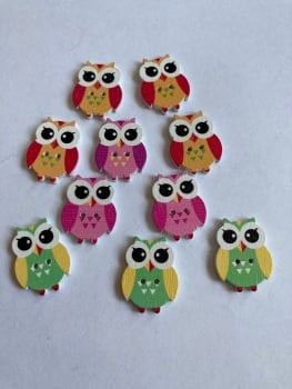Owl  Wooden Button - 25x19mm (Pack of  10 as shown) PR14