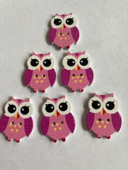 Owl  Wooden Button - 25x19mm Pink  (Pack of  6 as shown) PR09