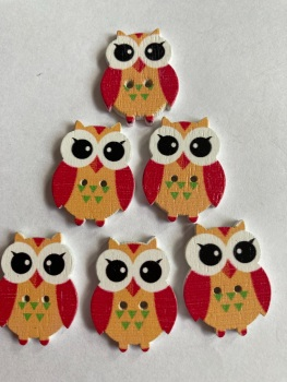 Owl  Wooden Button - 25x19mm Orange (Pack of  6 as shown) PR10