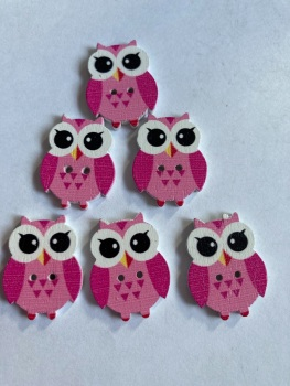 Owl  Wooden Button - 25x19mm (Pack of  6 as shown) PR11