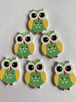 Owl  Wooden Button - 25x19mm Green (Pack of  6 as shown) PR12