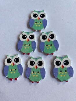 Owl  Wooden Button - 25x19mm Green  (Pack of  6 as shown) PR13