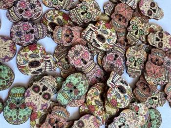 Skull/ Sugar Skull Wooden  Buttons 25mm approx (Pack of 8) Random Mix PR15