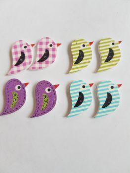 Bird Wooden Buttons 22x15mm (Pack of 8 as shown) PR20