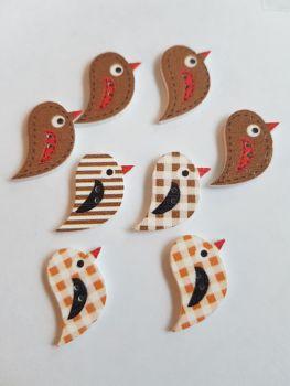 Bird Wooden Buttons 22x15mm (Pack of 8 as shown) PR18