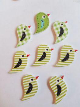 Bird Wooden Buttons 22 15mm (Pack of 8 as shown) PR22