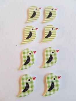 Bird Wooden Buttons 22x15mm (Pack of 8 as shown) PR24
