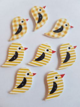 Bird Wooden Buttons 22x15mm (Pack of 8 as shown) PR25