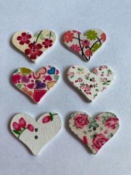 Flower Pattern Wooden Heart Buttons 30x25mm - (Pack of 6-as shown) RH09