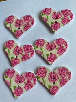 Flower Pattern Wooden Heart Buttons 30x25mm  (Pack of 6-as shown) RH02