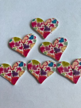 Flower Pattern Wooden Heart Buttons 30x25mm -Pack of 6-as shown) RH03