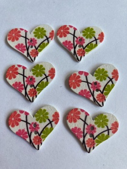 Flower Pattern Wooden Heart Buttons 30x25mm-Pack of 6-as shown) RH05