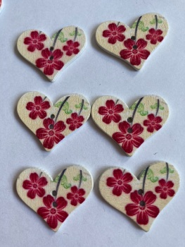 Flower Pattern Wooden Heart Buttons 30x25mm-Pack of 6-as shown) RH04