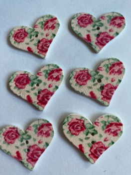 Flower Pattern Wooden Heart Buttons 30x25mm-Pack of 6-as shown) RH06