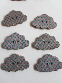Cloud Wooden Buttons 30x19mm (Pack of 6-as shown) RH11