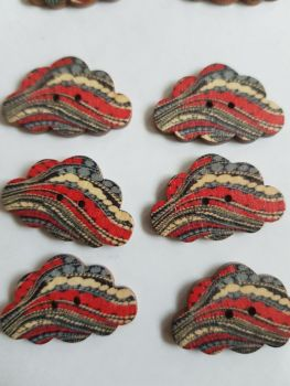 Cloud Wooden Buttons 30x19mm (Pack of 6-as shown) RH13