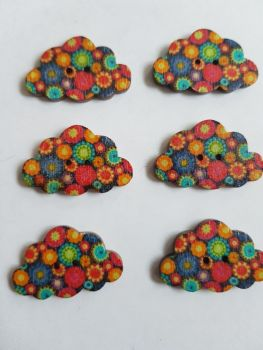 Cloud Wooden Buttons 30x19mm (Pack of 6-as shown) RH14