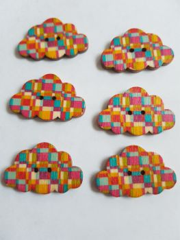 Cloud Wooden Buttons 30x19mm (Pack of 6-as shown) RH15