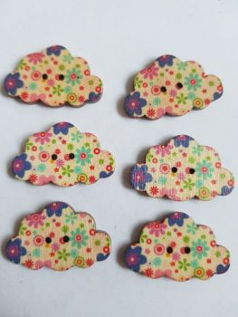 Cloud Wooden Buttons 30x19mm (Pack of 6-as shown) RH16