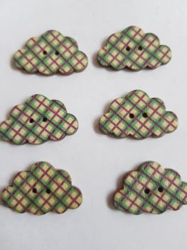 Cloud Wooden Buttons 30x19mm (Pack of 6-as shown) RH17