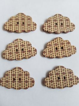 Cloud Wooden Buttons 30x19mm (Pack of 6-as shown) RH18