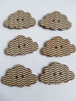 Cloud Wooden Buttons 30x19mm (Pack of 6-as shown) RH19