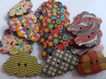 Cloud Wooden Buttons 30x19mm Random Mix (Pack of 8) RH20