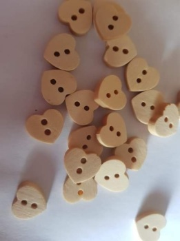 Heart Wooden Buttons 15mm (Pack of 10)