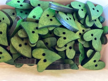 Heart Wooden Button 17mm x 21mm Green (Pack of 10) RH26