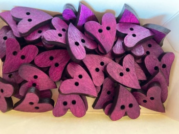Heart Wooden Button 17mm x 21mm Purple (Pack of 10) RH27