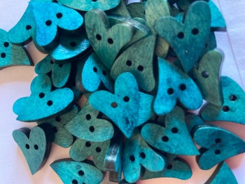 Heart Wooden Button 17mm x 21mm Teal/Blue (Pack of 10) RH28