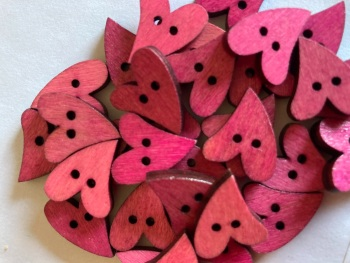 Heart Wooden Button 17mm x 21mm Pinks  (Pack of 10) RH29