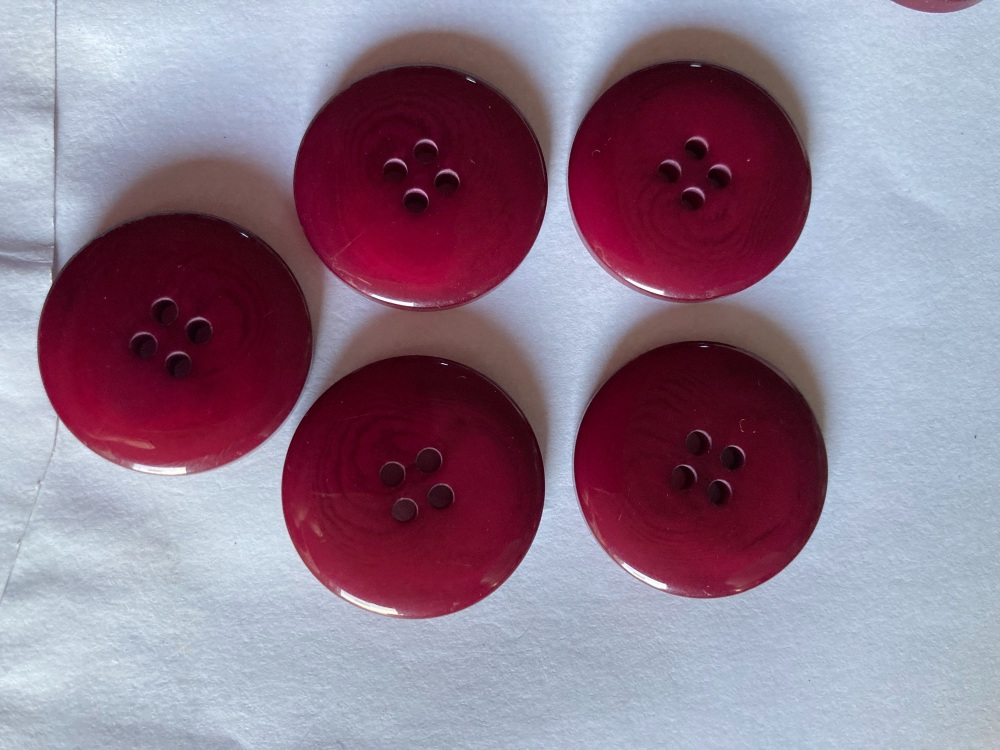 Plum / Purple  Buttons 25mm (Pack of 5) LY22