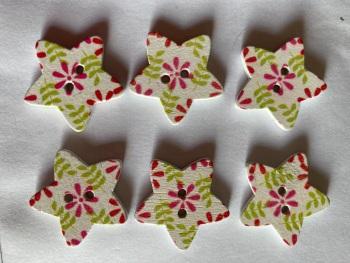 Flower Pattern Wooden Star Buttons  25mm (Pack of 6) RH44