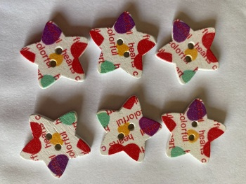 Patterned Wooden Star Buttons  25mm (Pack of  6) RH47