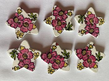 Flower Pattern Wooden Star Buttons  25mm (Pack of 6) RH48