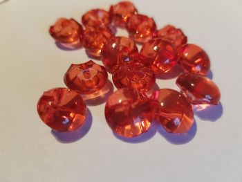 Red Translucent Button 13mm  (Pack of  12)