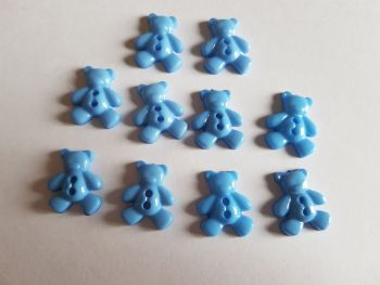 Teddy Buttons 20x12mm - Blue ( Pack of 10) EV02