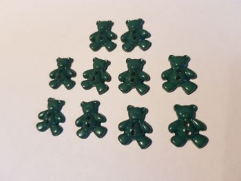 Teddy Buttons 20x12mm - Green ( Pack of 10) EV08