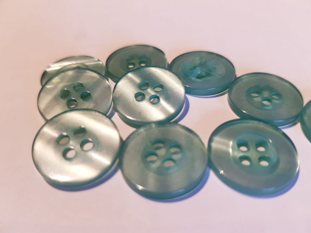 Green Buttons 15mm (Pack of 10)