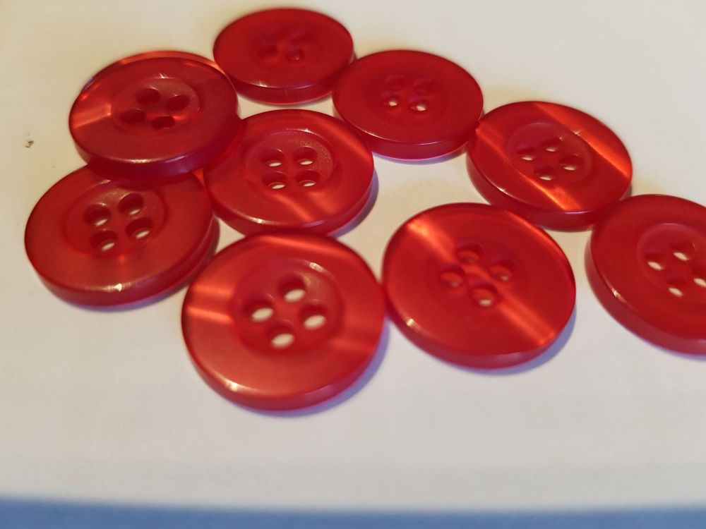 Red Buttons 15mm (Pack of 10)