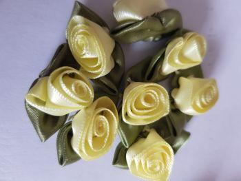 Ribbon Roses - Lemon (Pack of 8)
