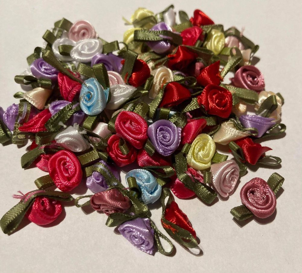 Mixed Colours Ribbon Roses -Small (pack of 12)