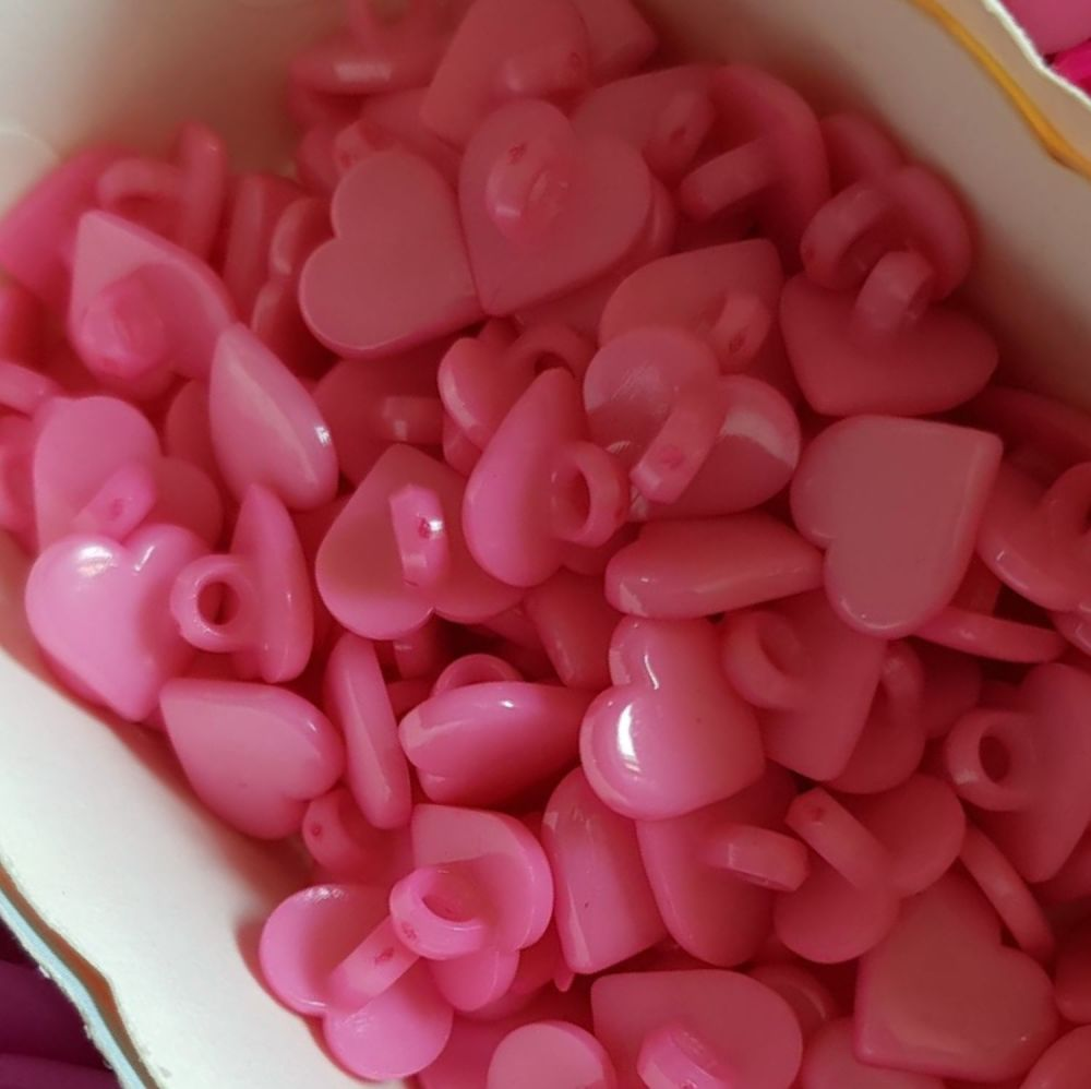 Pink Heart Button 13mm (Pack of 15)