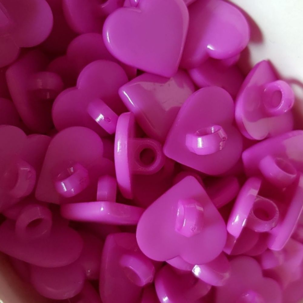 Cerise / Pink Heart Button 16mm (Pack of 12)