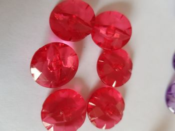 Red Translucent Buttons 22mm - Pack of 6  AB24