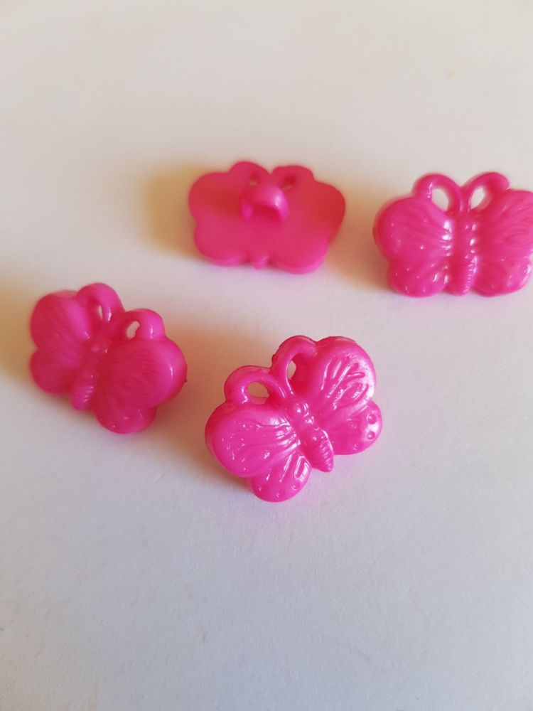 Cerise Butterfly Button 18mm (pack of 10)