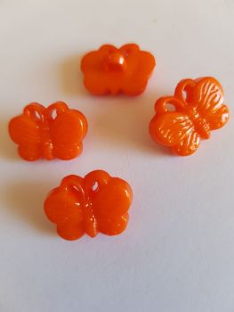 Orange Butterfly Button 18mm (pack of 10)