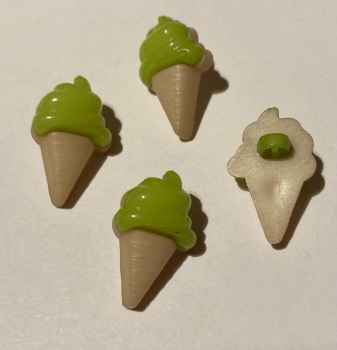 Ice Cream Buttons - Green 14x21mm  Pack of 10