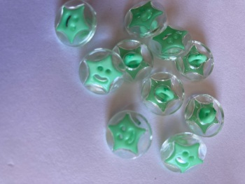 Star Buttons - Clear / Green (Mint) 14mm  Pack of 10